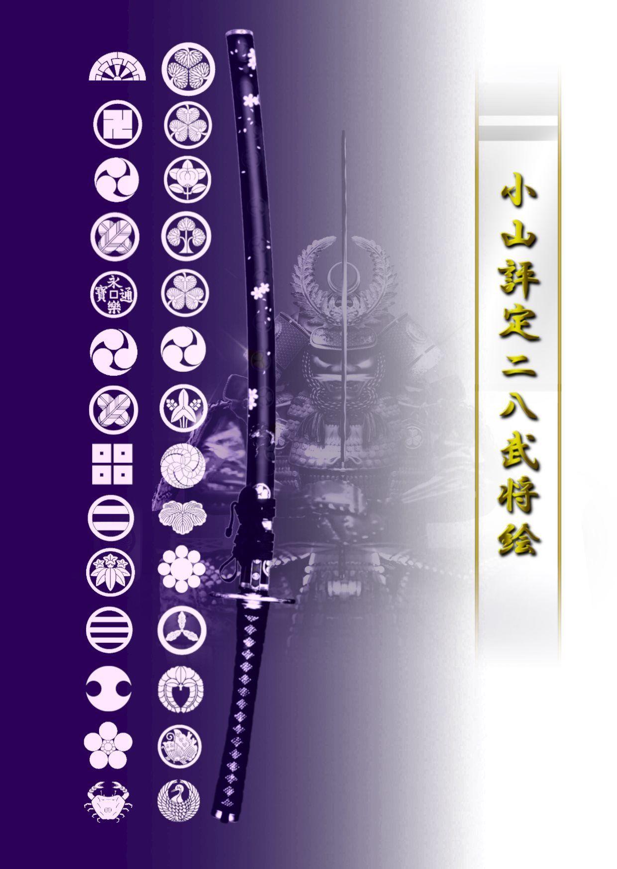 小山評定二八武将絵 全絵セット 4切ワイド額入りHG