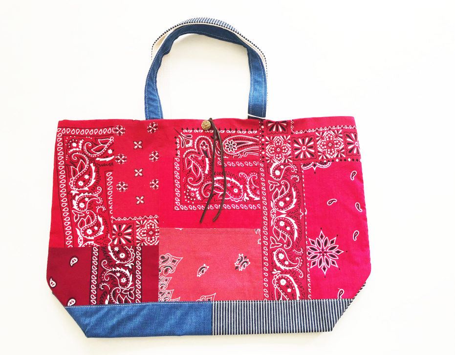 REMADE Patchwork TOTE BAG Large (L) Size. バンダナRED