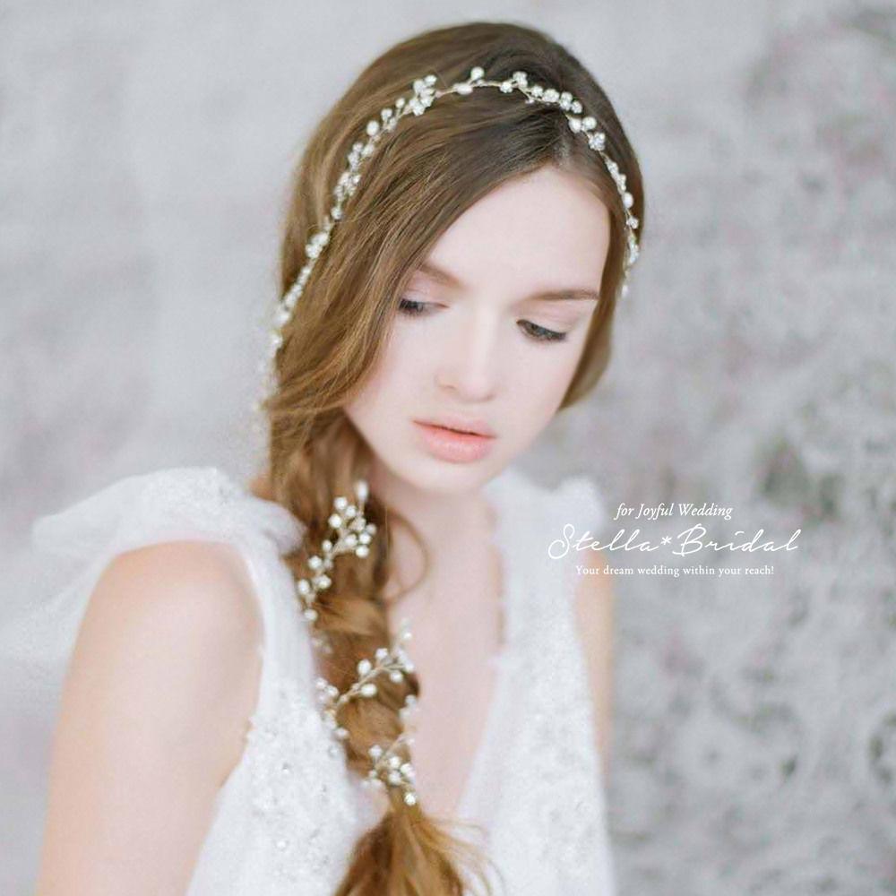 オーガニック風パールのホワイトゴールド小枝ヘッドドレス ベリーロング