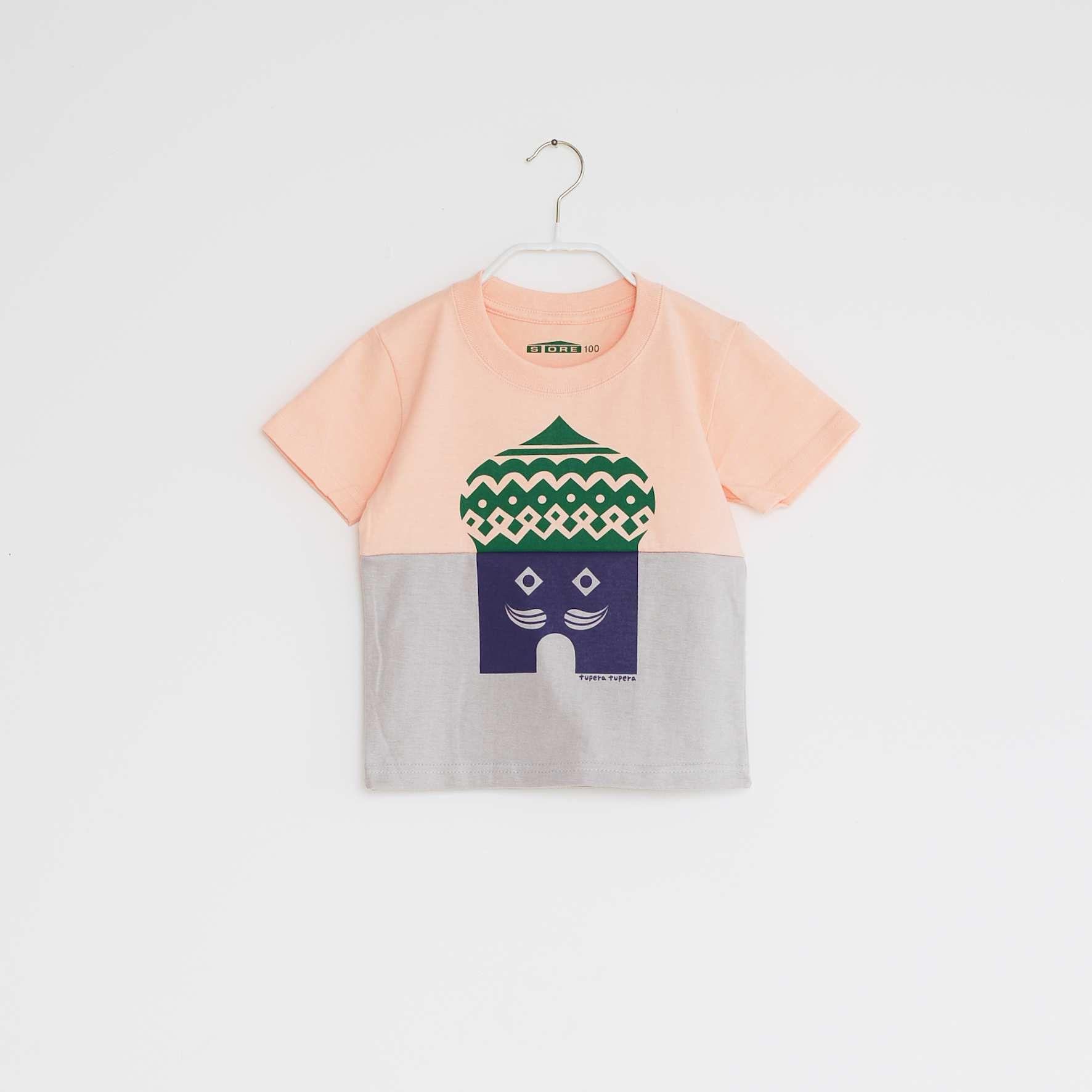 KIDS / tupera tupera ×STORE 家 T -シャツ  / 柄・ロシアハウス・ col・サーモンピンク×ライトグレー
