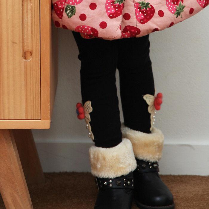 SALE!【キッズ】花ミンクファーレギンスパンツ裏起毛冬暖か[BerryBerry]韓国子供服