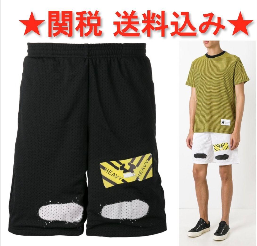 ★関税送料込 OFF-WHITE メッシュトラック ショートパンツ/黒*白