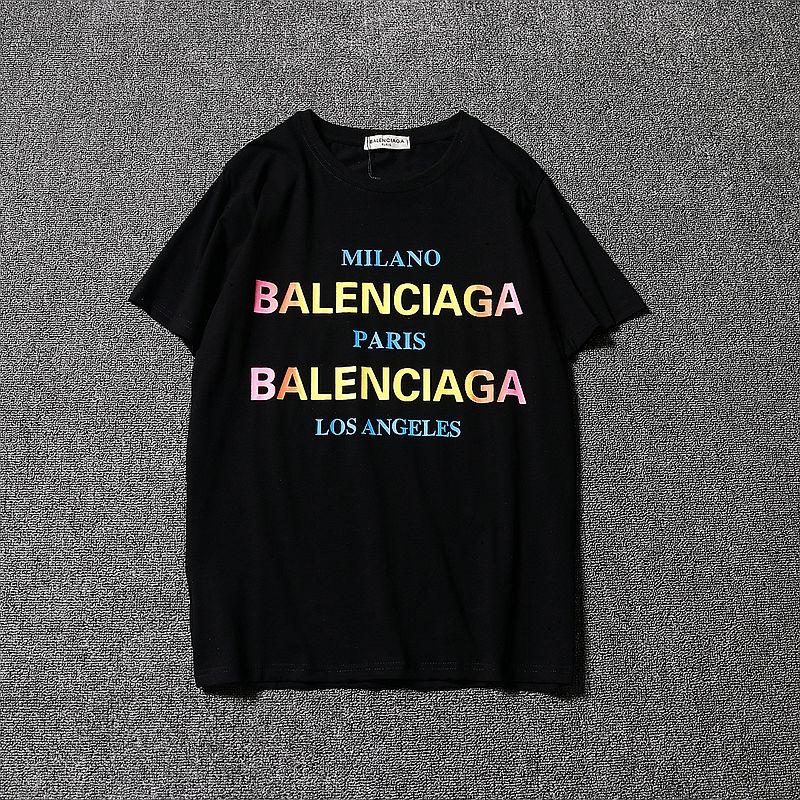 BALENCIAGA バレンシアガ メンズ ロゴ半袖Tシャツ カットソー 夏ウェア 半袖 tee   クルーネック 男女兼用 2色