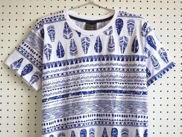 ネイティブアメリカン柄TシャツM【Plain Plain】白青/インディアン柄総柄ポップパターン柄T-shirtsTeeネット通販売新品