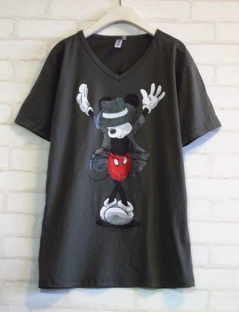 マイケル・ジャクソンポーズのミッキーマウス【3GSHOP】パロディーVネックTシャツ/グレーSMLXL/灰色メンズレディースパロディTシャツおもしろTシャツMJ