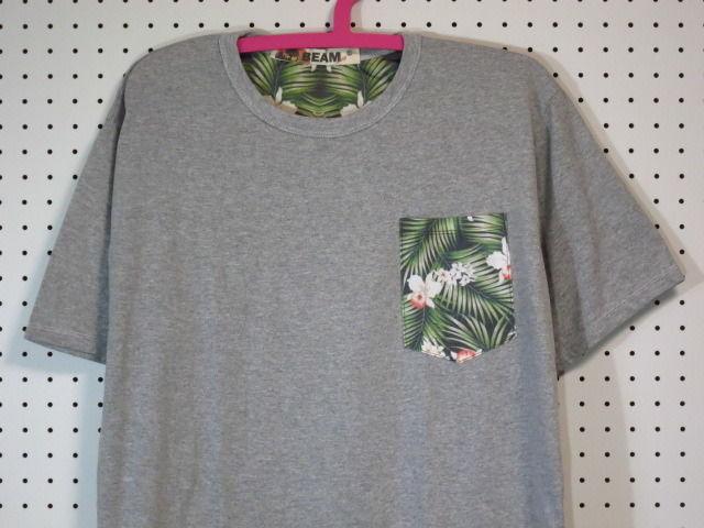 【@beamshop】花柄ポケットTシャツB柄Lサイズ/グレー