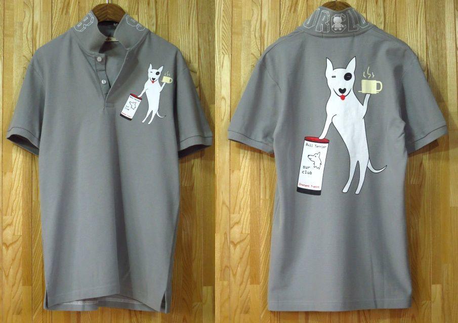 【SUR】ブルテリア犬ポロシャツMLXLグレー/バックプリントイラスト新品