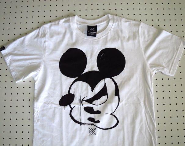 顔バラバラミッキーマウス柄プリントTシャツ白Mサイズ【kraftbkk】ミッキーパロディーTシャツギャグTシャツT-shirtsアウトドアウェアネット通販売新品