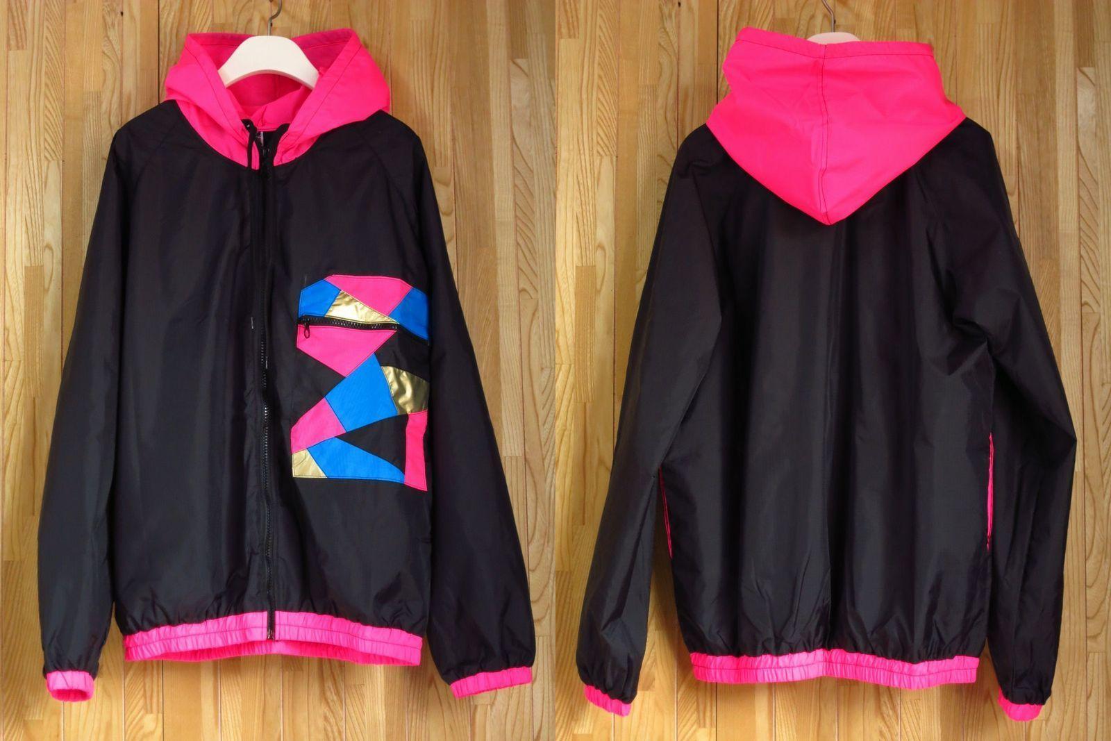 カラフルナイロンパーカー S M L 黒ピンク/ダンス衣装 ダンサーダンス ウインドブレーカー蛍光色