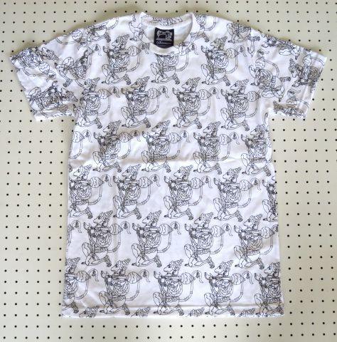 【SUBCONCIOUS】総柄Tシャツ/ハヌマーン柄/Mサイズ白/猿の神様ヒンドゥー教インド