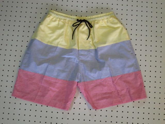 オックスフォード×3カラーパッチワークショートパンツ/黄色水色ピンク【LEWIN】ショート丈膝上丈アウトドアウェアビーチウェアスポーツウェアサーフィンネット通販売新品