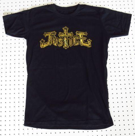 Justice/ジャスティス Tシャツ 黒×金M バンドTシャツEDMフレンチエレクトロ