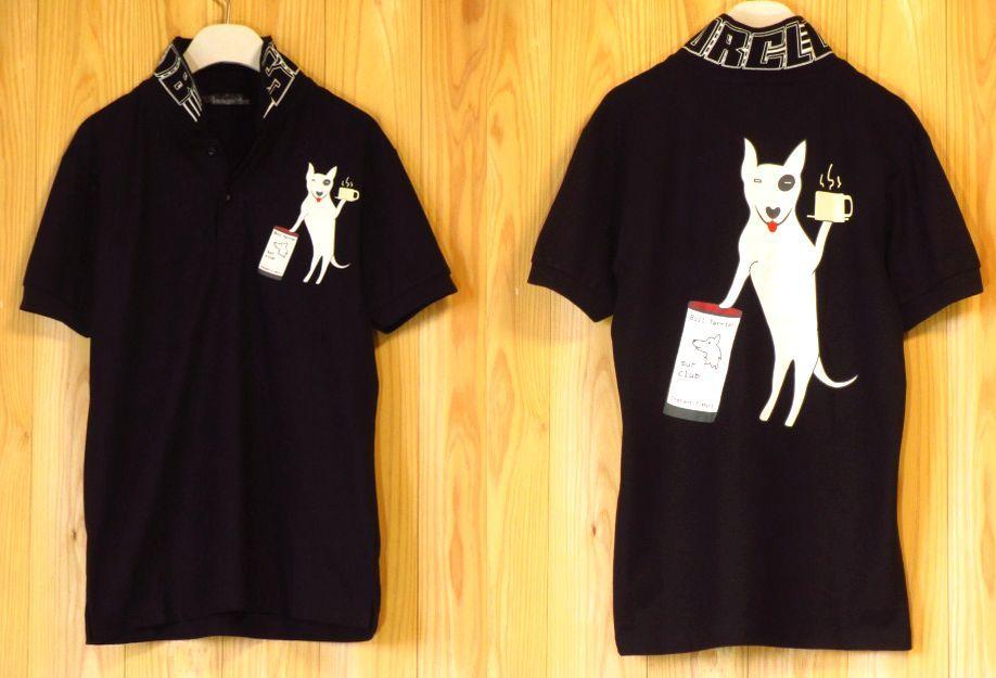 【SUR】ブルテリア犬ポロシャツMLXL黒/バックプリントイラスト新品