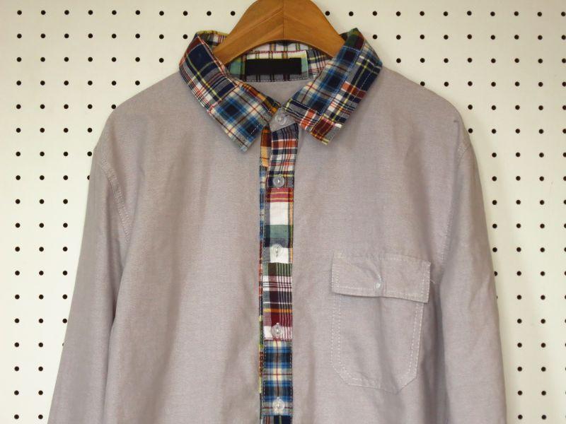 パッチワーク襟×オックスフォードシャツ グレー【OVAL DICE】カラフル襟 装飾シャツ デザインシャツ OXシャツ