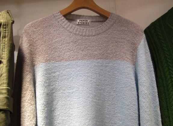 アシンメトリーデザインニット/水色×グレー×緑【PAPER STUDIOS】左右非対称デザインセーターカラフル