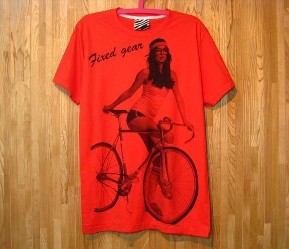 ビアンキ【Bianchi】ピストバイクTシャツ/赤ML/競技用自転車柄ロードバイクイタリアンバイクサイクリスト