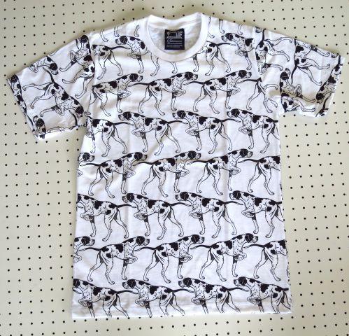 ポインター 犬 総柄Tシャツ 【SUBCONCIOUS】Mサイズ 白 イングリッシュポインター犬