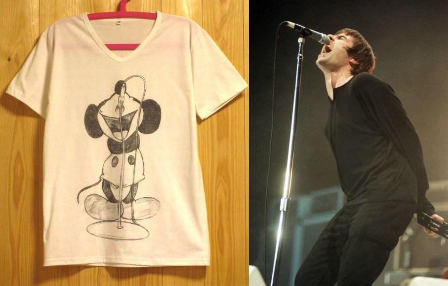 Oasisリアム・ギャラガーの真似をするミッキーマウスVネックパロディーTシャツ/白/SMLXLミッキー オアシス ギャラガー兄弟 ロックTシャツ 通販売新品