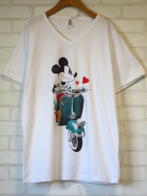 ベスパ × ミッキーマウス Vネック Tシャツ 白 SMLXL クラシックカークラシックバイク イタリア