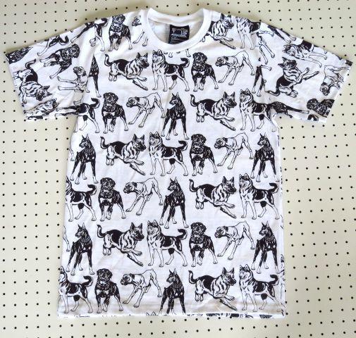 犬 いっぱい 総柄Tシャツ 【SUBCONCIOUS】Mサイズ 白 犬柄 猟犬 ペット 犬種