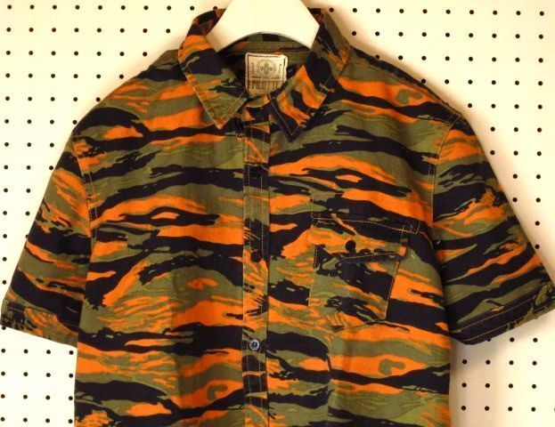 【PILOTTE】迷彩柄半袖ワークシャツ/カモフラージュ柄カモフラ柄
