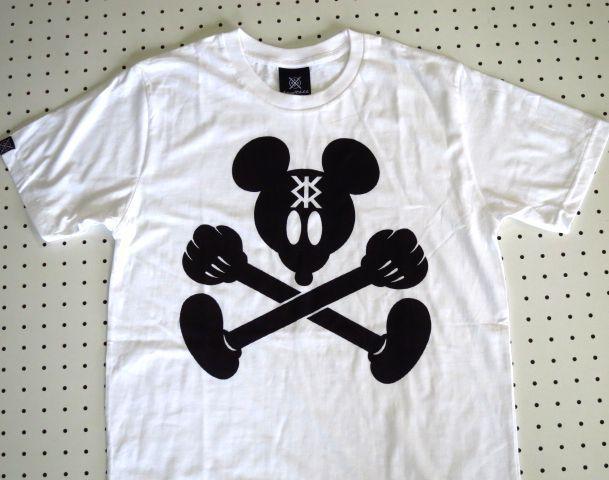 ミッキーマウス×スカルマークプリントTシャツ白Mサイズ【kraftbkk】ミッキーパロディーTシャツギャグTシャツT-shirtsアウトドアウェアネット通販売新品