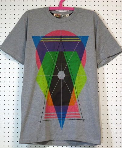 【@beamshop】カラフルデザインTシャツML/グレー/新品