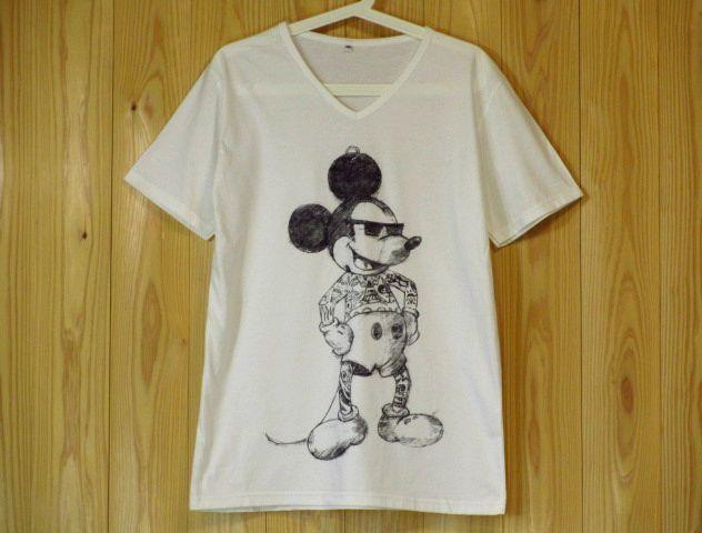 刺青 x ミッキーマウス パロディーTシャツ S M L XL 白 Vネック ミッキー ブラックジョーク パロディーTシャツ 入墨 タトゥー 新品