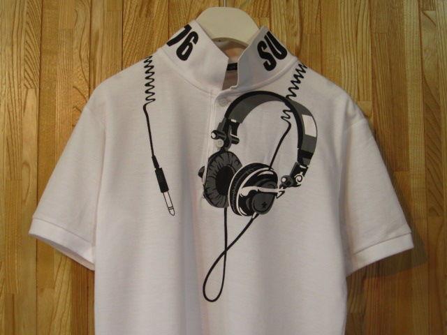 【SUR】ヘッドフォン柄プリントポロシャツML白/新品