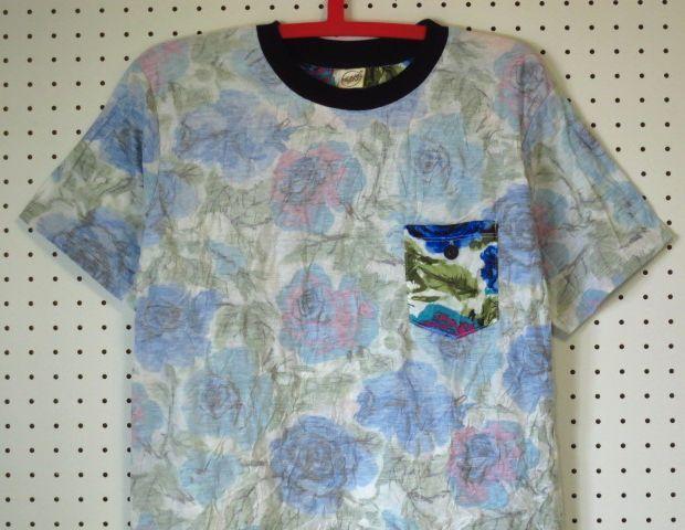 【@beamshop】シワ加工×胸ポケット花柄TシャツM/総柄