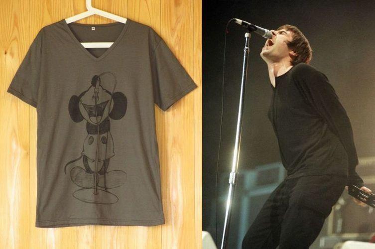 Oasisリアム・ギャラガーの真似をするミッキーマウスVネックパロディーTシャツ/グレー/SMLXL ミッキー オアシス ギャラガー兄弟 ロックTシャツ 通販売新品