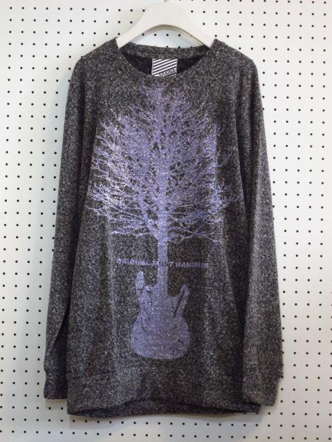 【ARAINA】ギター×木プリント薄手ニット/グレー/メンズフリーサイズセーター