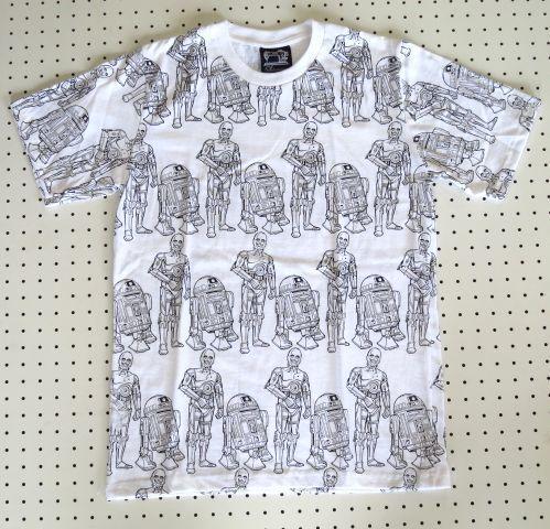 スターウォーズR2-D2&C-3PO柄【SUBCONCIOUS】総柄TシャツMサイズ白/映画STAR WARSハリウッド映画Tシャツ