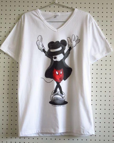ミッキーマウス×マイケル・ジャクソン白パロディーVネックTシャツ【3GSHOP】SMLXL/メンズレディースミッキーTシャツMJブラックジョークTシャツ 通販売新品