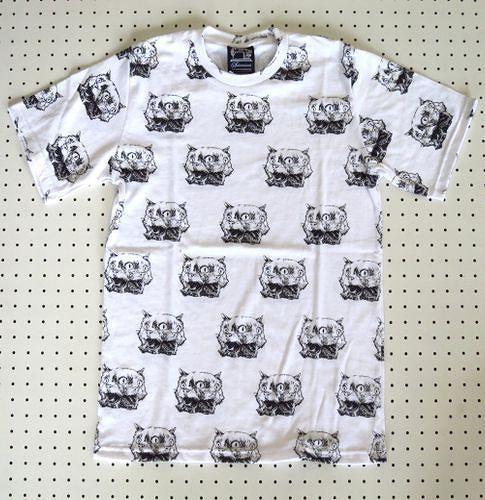 【SUBCONCIOUS】総柄Tシャツ/ヤヌス猫柄/Mサイズ白/ヤヌスの猫三つ目猫ネコねこ