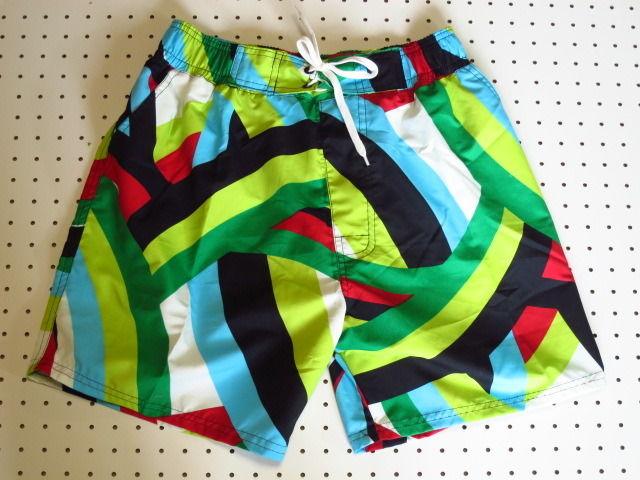 ショート丈サーフパンツ/緑カラフル/水着スイムウェアビーチウェア新品