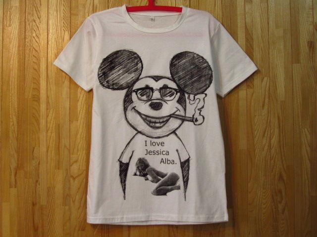 ミッキーマウス x ジェシカ・アルバ/パロディーTシャツ/白/丸首SMLXL たばこ 煙草 グラサン サングラス ミッキーTシャツ ウェイファーラー ブラックジョークTシャツ 通販売新品