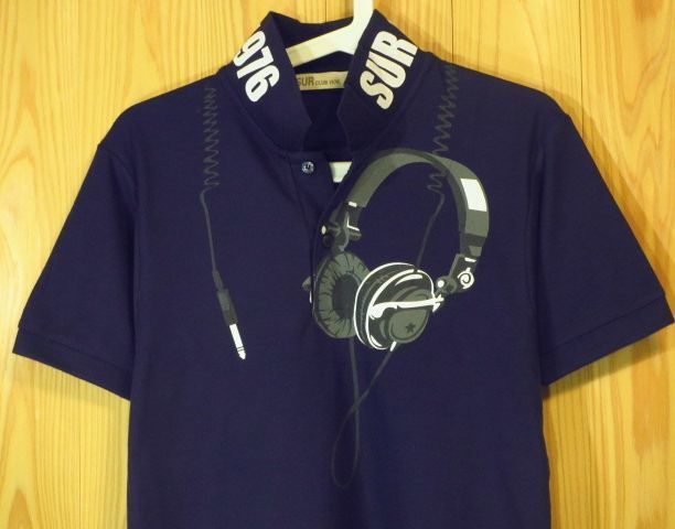 【SUR】ヘッドフォン柄プリントポロシャツML紺色/新品ネイビー