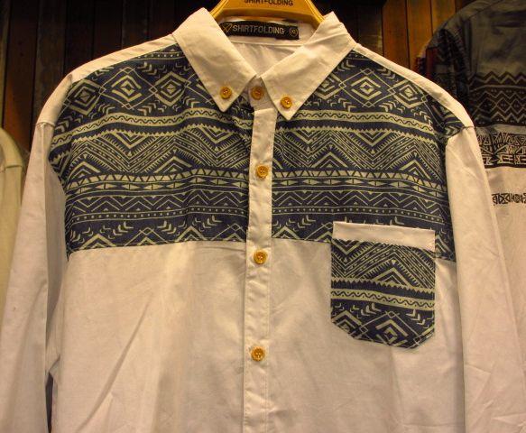 【SHIRTFOLDING】ネイティブ柄ツートンボタンダウンシャツ