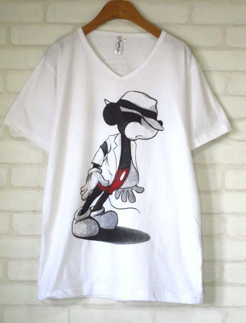 マイケル・ジャクソン×ミッキーマウス白パロディーTシャツSサイズMサイズLサイズXLサイズミッキーTシャツMJマイケルジャクソンTシャツ 通販売新品