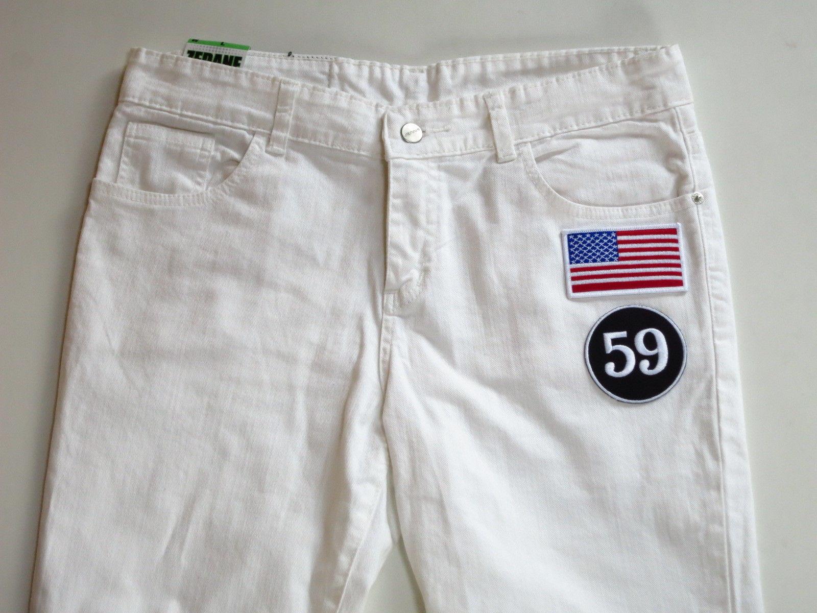 アメリカ国旗 × 59 ワッペン付きスキニーパンツ 白星条旗 W30 W32 W34 W36 W38白パンスリムパンツホワイトデニム ビッグサイズ大きいサイズ
