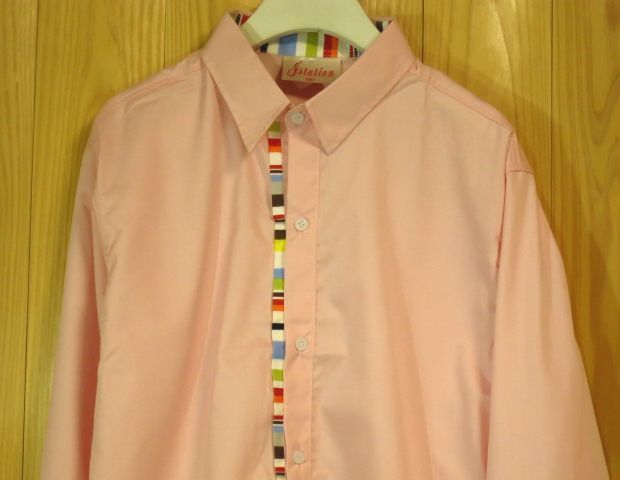 【J Station】カラフル装飾ドレスシャツM/ピンク長袖シャツ