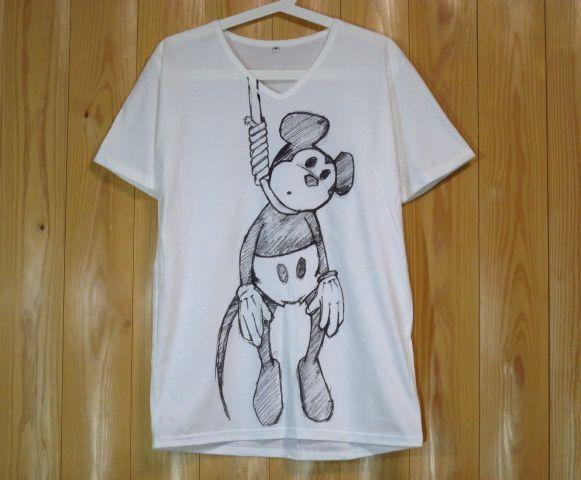 ミッキーマウス首つりブラックジョークVネックパロディーTシャツ/白/SMLXL自殺シュールレアリズムブラックユーモアミッキーイラスト