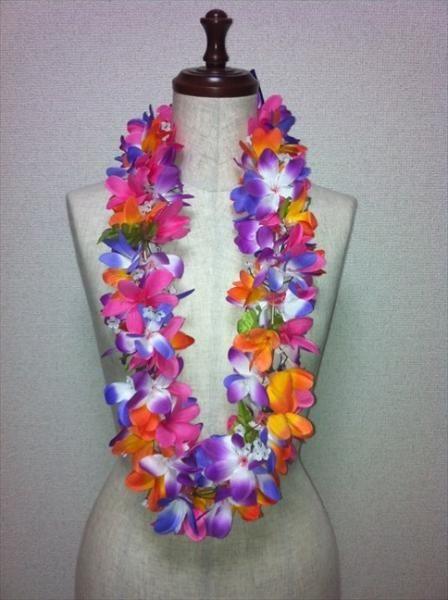 ハワイアンレイ,フラダンス衣装レイプルメリアレイ ミックスレイ