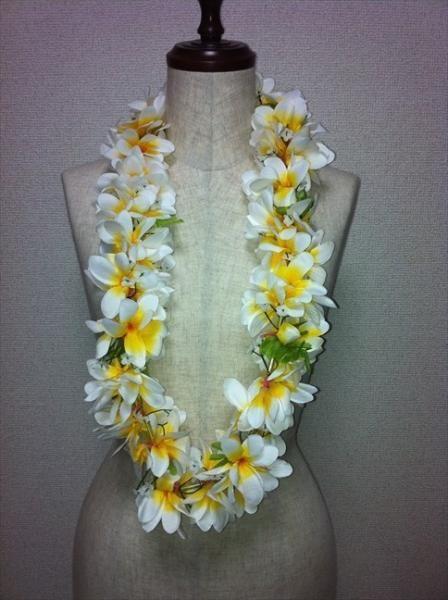 ハワイアンレイ,フラダンス衣装レイプルメリアレイ白/黄