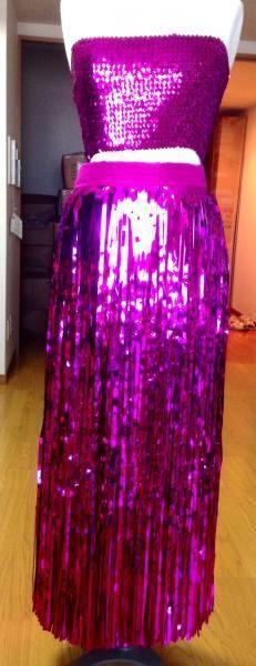 セロファンスカート,チューブトップ,スカートカバーセット 濃いピンク