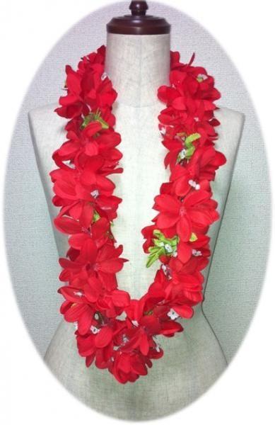 ハワイアンレイ,フラダンス衣装レイプルメリアレイ赤