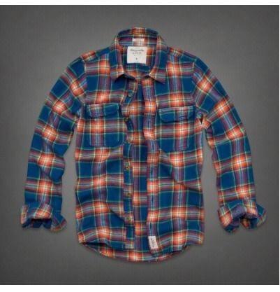 アバクロ Abercrombie & Fitch ネルシャツ メンズ チェック ブルー オレンジ Railroad Notch Flannel Shirt