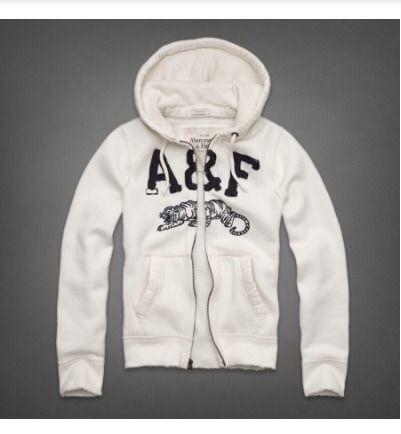 アバクロ Abercrombie & Fitch パーカー メンズ フルジップ オーディオ用穴あり ホワイト COBBLE HILL HOODIE