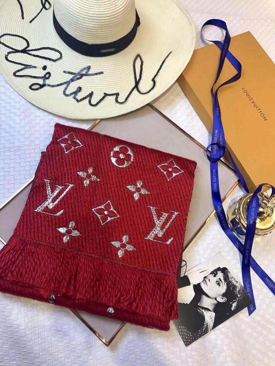 ルイヴィトン   94%wool 6%silk スカーフ 厚手    Louis Vuitton/szm-926
